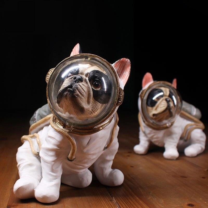 Moderne astronaute Sculpture résine chien Statue Spaceman abstraite Figurine décoration de la maison accessoires artisanat décor R736