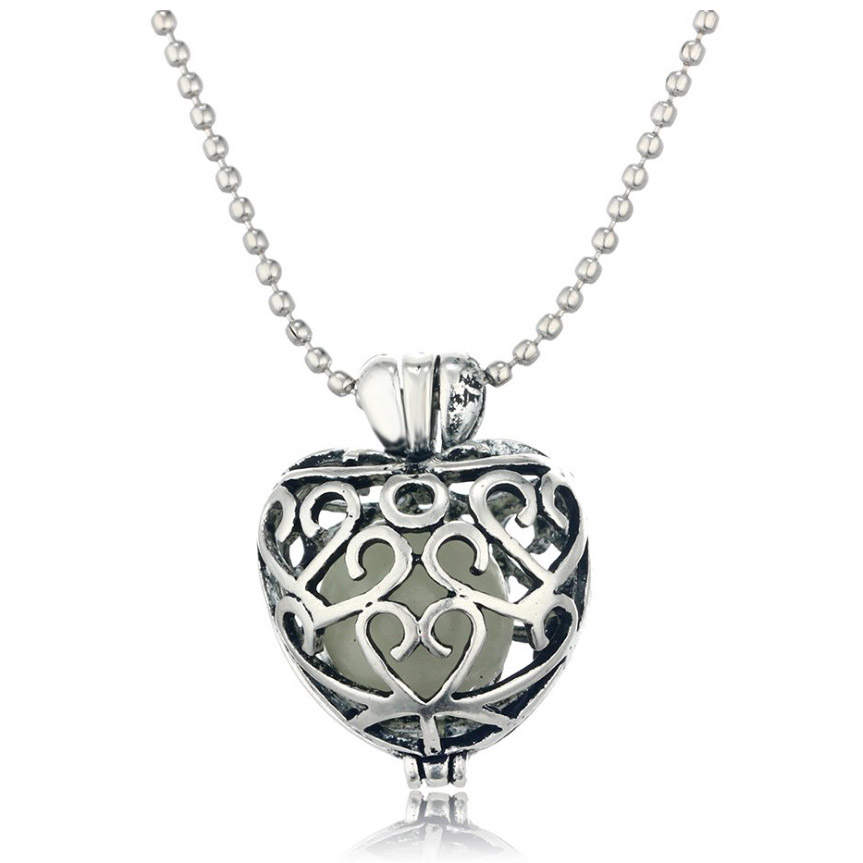 Gift Blue luminous Glow Hollow Love Heart Pendant Necklace font b Jewelry b font