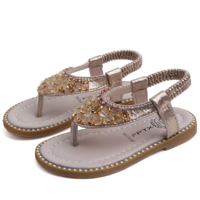 Xinfstreet Baby Girls Sandals Bling Rhinestone Princess Children Shoes Toddler Beach Sandals Kids Summer Shoes Size 21-30 1