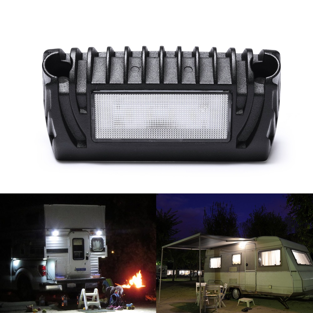 MICTUNING 2Pcs RV Exterior LED Porch Utility Light 12V 750 Lumen Awning Lights Replacement Lighting for RVs Trailers Campers image