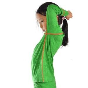 Image 1 - Новинка 100% года, детский зимний теплый свитер из чистой мериносовой шерсти, нижнее белье, Воздухопроницаемый Топ, штаны, нижний комплект для мальчиков и девочек