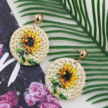 Vintage Wicker Rattan Earrings for Women Round Straw Wooden Earring Sunflower/flamingo Woven Earing Handmade Jewelry Aretes 2019 цена