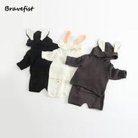Korean Baby Girls Boys Clothing Set Knitted Newborn Tops Pant 2Pcs Set Spring Autumn Rabbit Shaped