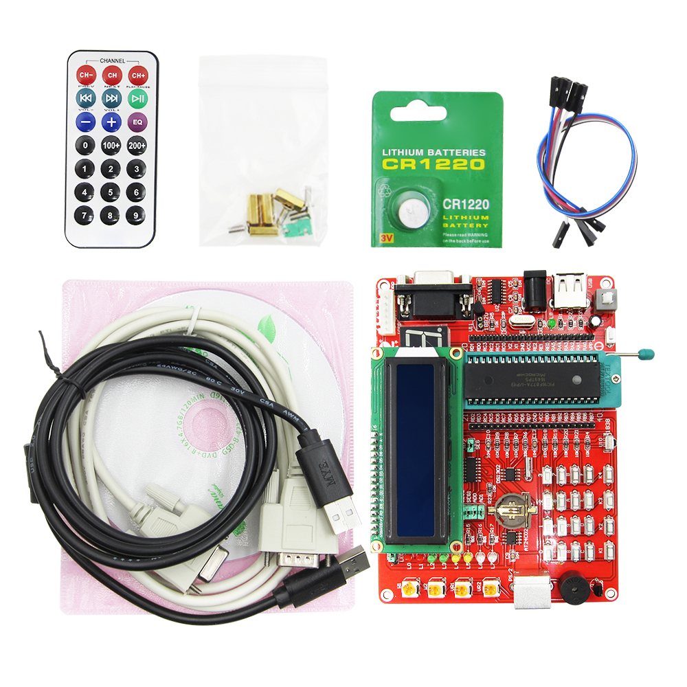 learning board PIC microcontroller experiment board PIC microcontroller development board 16F877A video tutorials pic development board pic16f877a pic16f877a i p 8 bit risc pic microcontroller development board 11 accessory modules