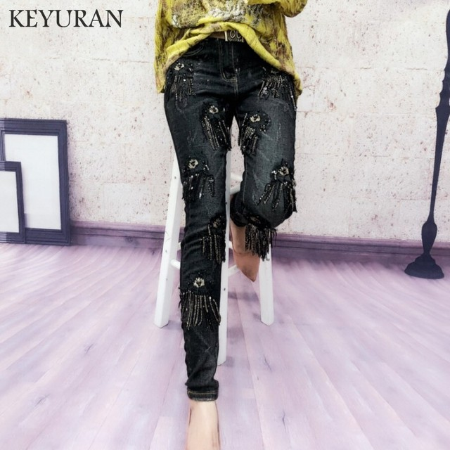 9bf2559663003 2018 Autumn Winter Women's Stretch Skinny Tassel Jeans For Woman Harem Pants  Girls Denim Jeans Sequined Boyfriend Jeans Trousers