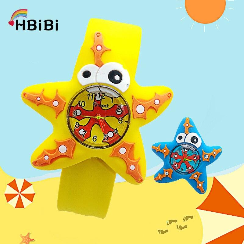 Ocean Starfish Kids Watches 3D Five-pointed Anime Pattern Baby Toy Children Watch For Kid Girls Boys Clock Quartz Wristwatches