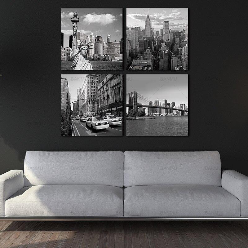 BANMU Malerei Wand Kunst Bild Druck auf Leinwand 4 Panels New York ...