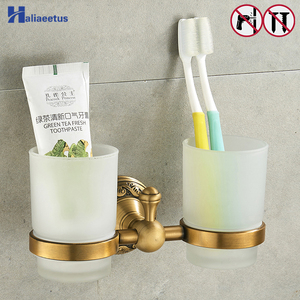 Nail Free Toothbrush Holder Brass Bathroom Bathroom Family Toothbrush Cups Holder(China)