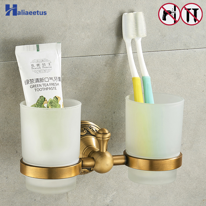 Nail Free Toothbrush Holder Brass Bathroom Bathroom Family Toothbrush Cups Holder image