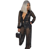 autumn Sexy Sheer Mesh See Through Two Piece Women Set Long Sleeve Tops And Wide Leg Pants Suit Striped Club Wear Outfits Sets