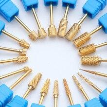 20 Тип ногтей сверло Золото Карбида электрическая фреза резак фрезы для ногтей для маникюра машины аксессуары Nail Art инструменты TRSTZ-J
