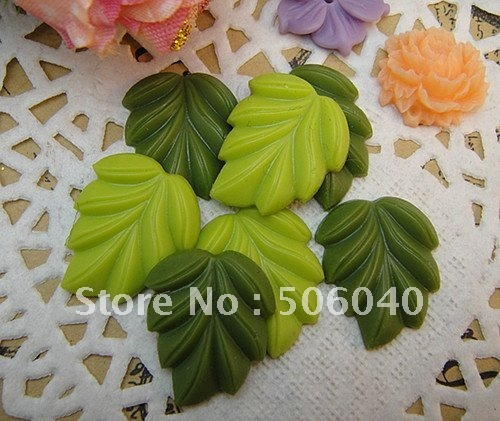 18*21mm 2 colors Resin Green leaf for Jewelry/Mobile phone DIY Decoration Accessorry 100pcs/lot