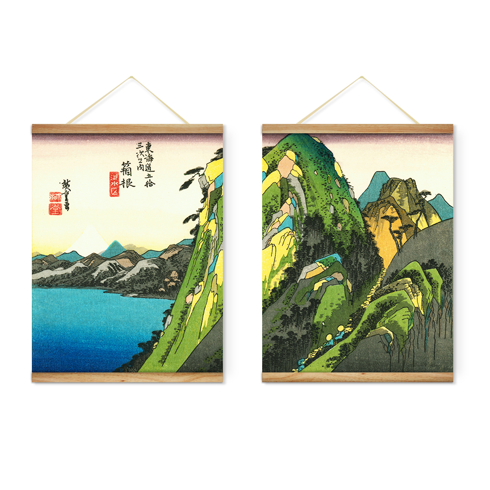 Wooden Scroll Wall Art Japanese Seascape Mountain Decoration Wall Art Pictures Hanging
