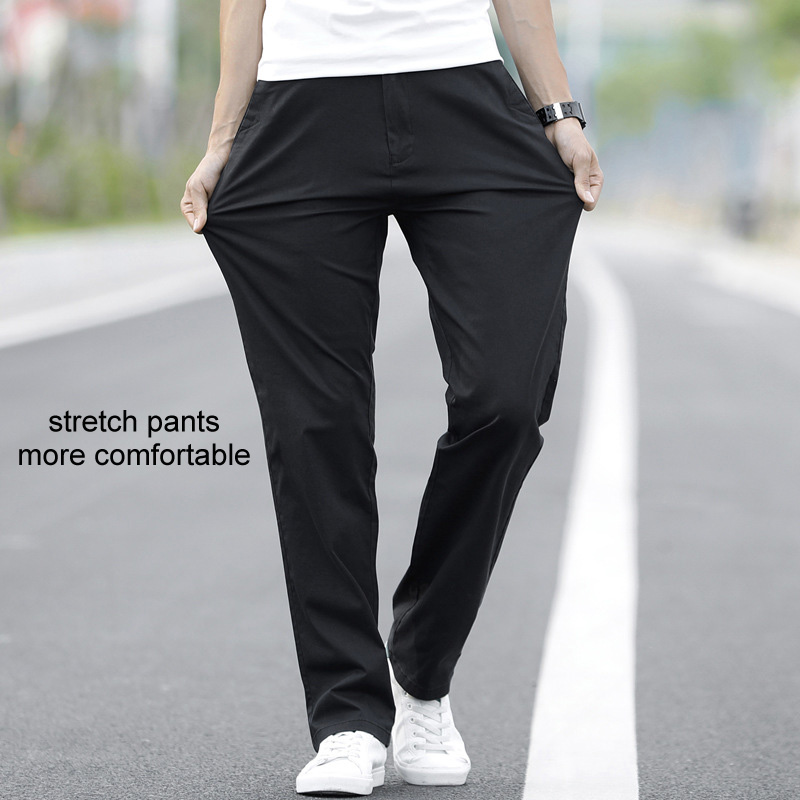 Image 2 - LOMAIYI Plus Size Men Pants Casual Spring/Summer Stretch Men's Classic Trousers Male 2019 Business Black/Khaki Pants Man BM221-in Casual Pants from Men's Clothing