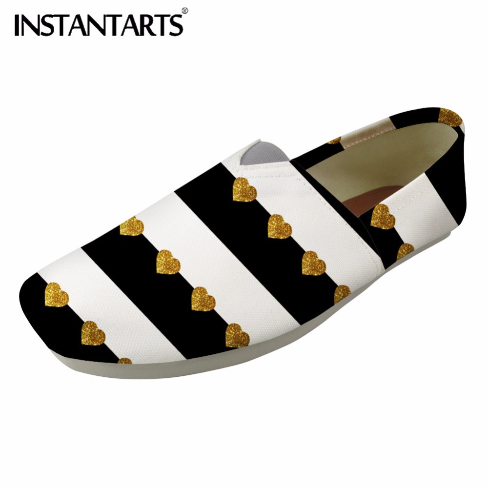 INSTANTARTS Women Flats Spring Fashion Loafers Casual Shoes Black White Slip Up Woman Canvas Flats Shoes 3D Striped Lazy Shoes