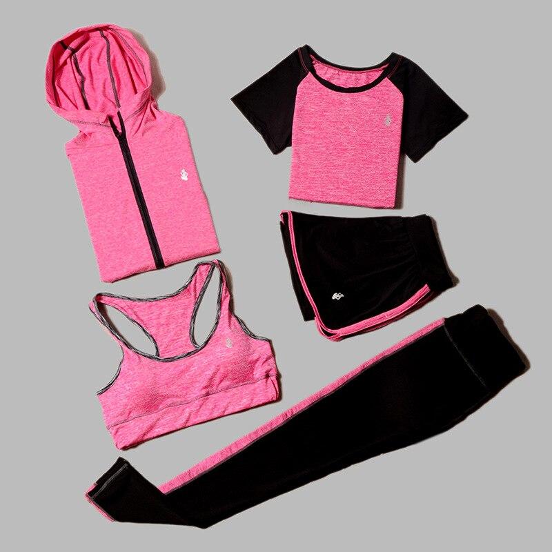 <+>  5 Шт. Набор Yoga Женская Бег Фитнес Футболка Спортивный Бюстгальтер Одежда Фитнес Одежда Женский Тре ✔