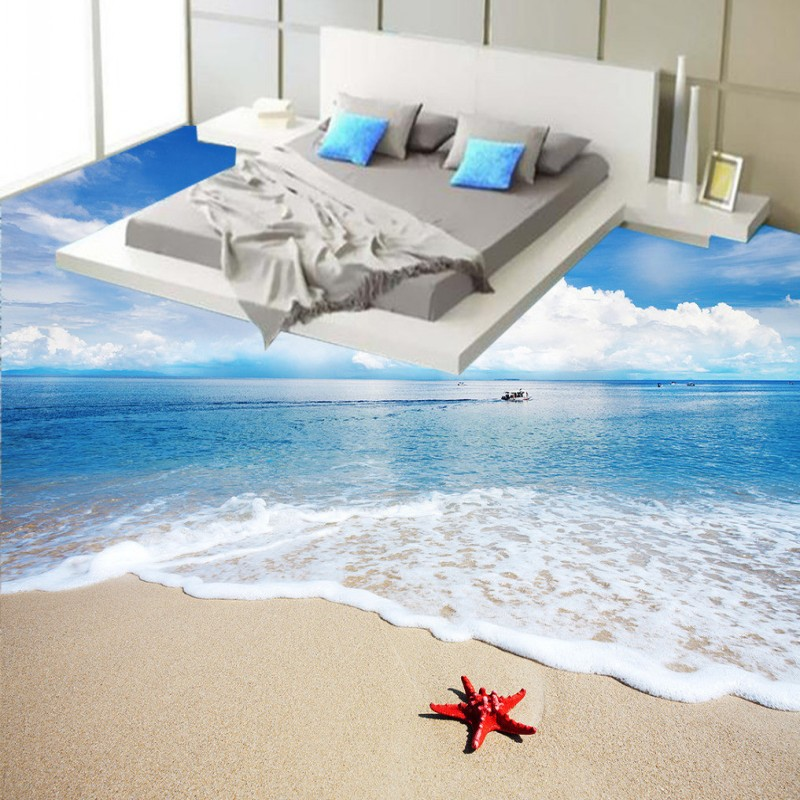 ФОТО Free Shipping Custom Sea beach waves 3D bathroom studio lobby hotel decoration floor painting wallpaper mural