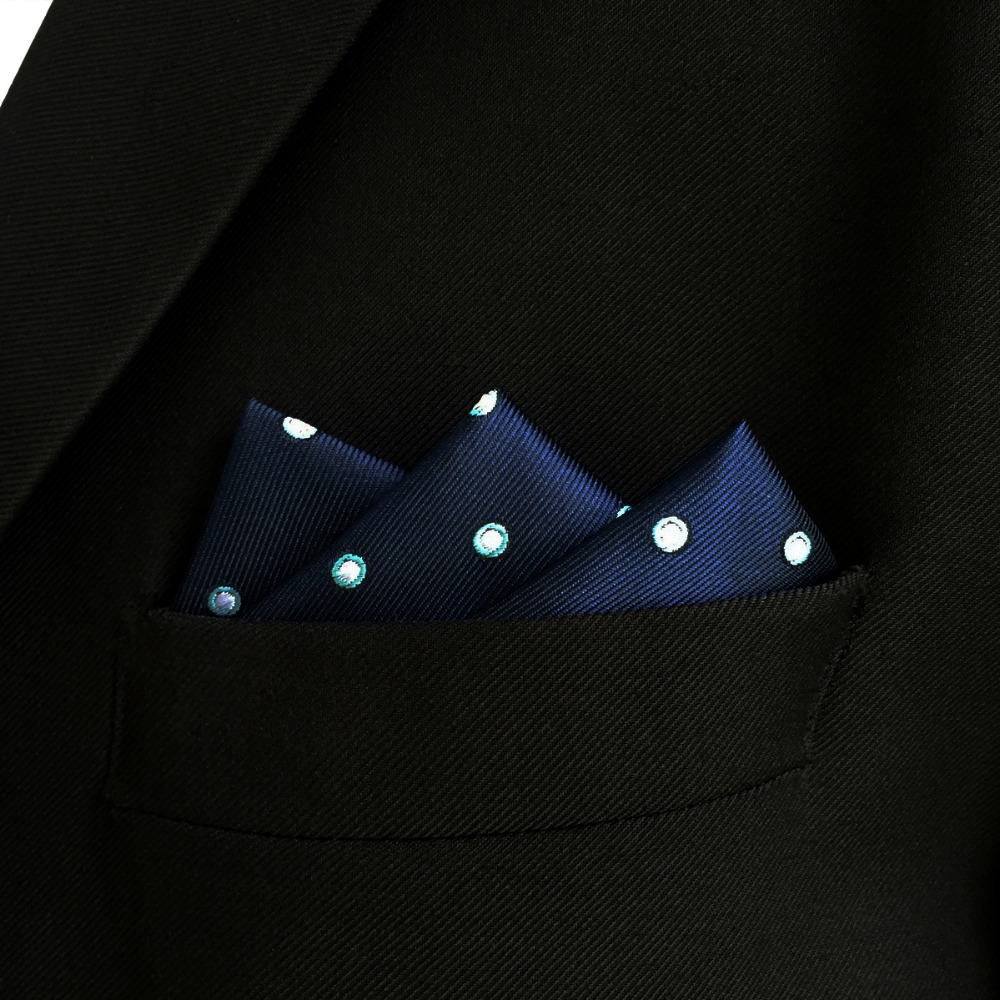 EH24 Navy Dots Mens Pocket Square Silk Handkerchief Business for Suit
