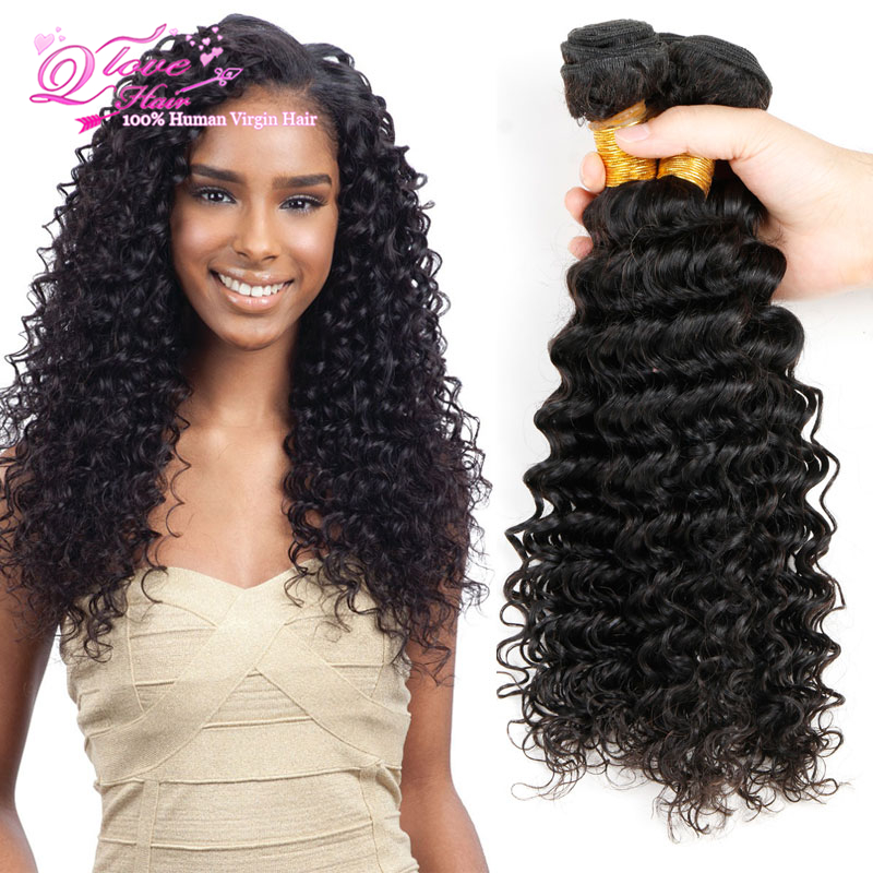 Black Malaysian Deep Curly Virgin Hair Bundles 7a Milky