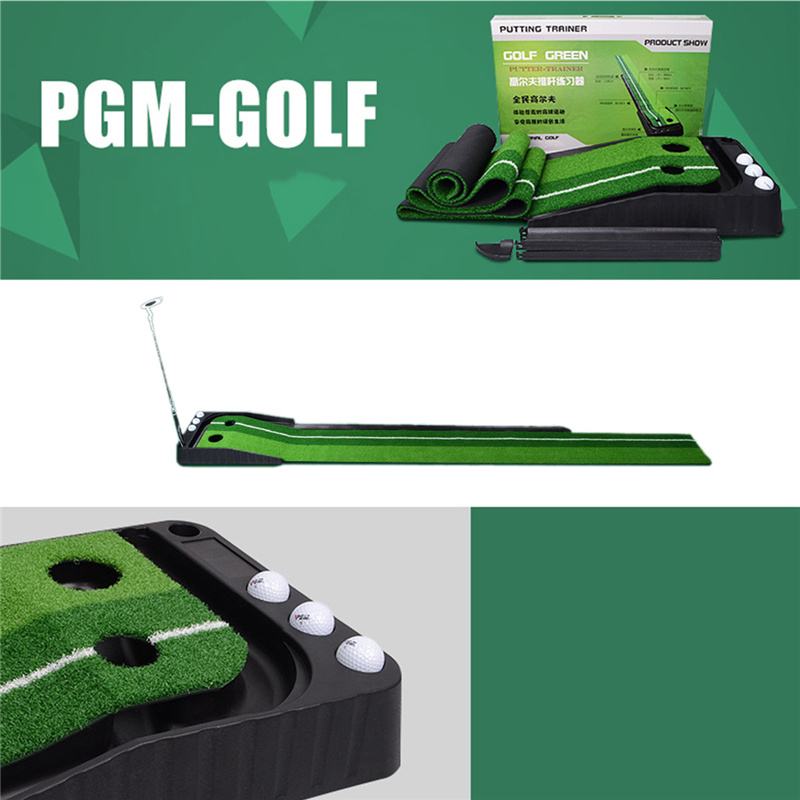 PGM Golf Putting Practice Kit Ball Putter Training Set Portable Indoor durable Golf Practice Putting Green Mat trainer Putter caiton portable golf putter set kit with ball hole cup for travel indoor golf putting practice top grade redwood golf gift