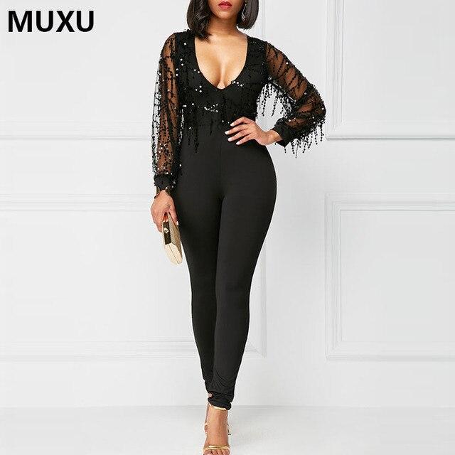 e968b618d26 MUXU autumn sexy sequin patchwork bodysuit black jumpsuit one piece  jumpsuit long sleeve mesh long club