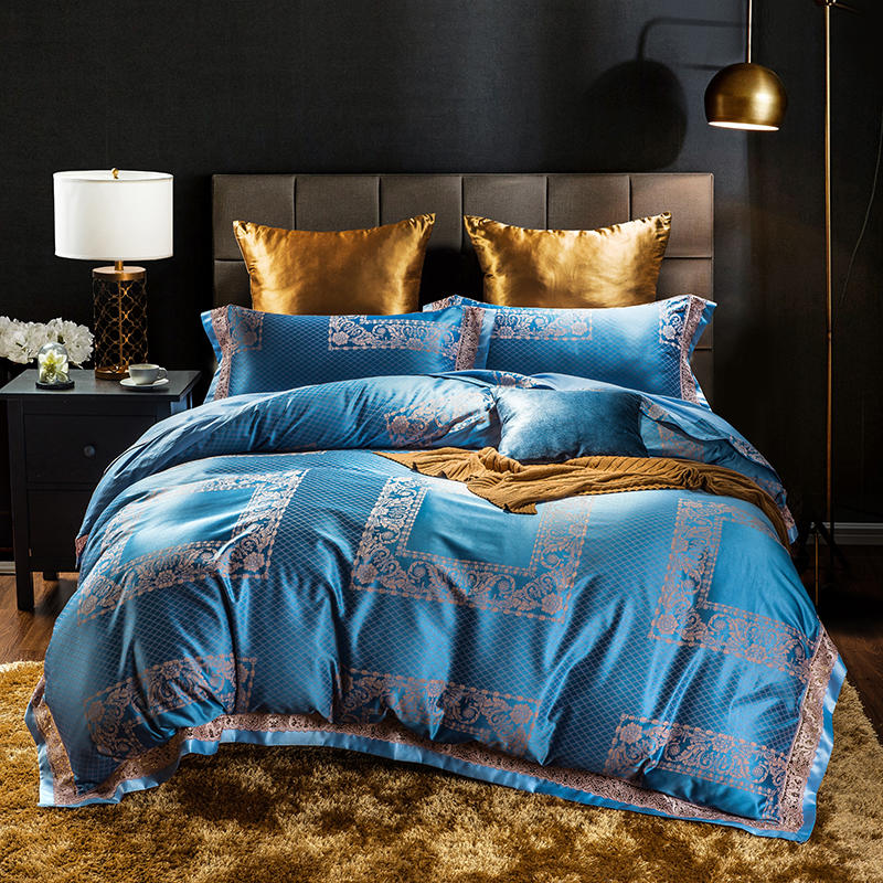 100% Silk luxurious Solid color bedding sets 4pcs queen king bedlinen bedclothes comfortable Duvet cover set RUIYEE brand