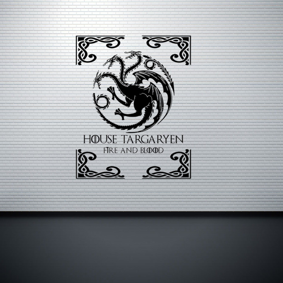 Game of Thrones 3D wallpaper  Targaryen family emblem gold three head dragon carved creative wall stickers pasteToilet murals english coup basic reformation expansion board game best party family cards game