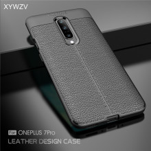 For Oneplus 7 Pro Case Luxury PU leather Rubber Soft Silicone Phone Back Cover Fundas