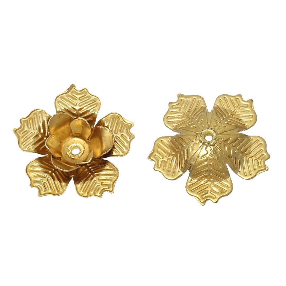 "DoreenBeads Brass Beads Caps Flower Stamping Filigree Brass Tone (Fit 4mm Beads) 18mm( 6/<font><b>8</b></font>"") <font><b>x</b></font> 17mm( <font><b>5</b></font>/<font><b>8</b></font>""), 20 PCs"