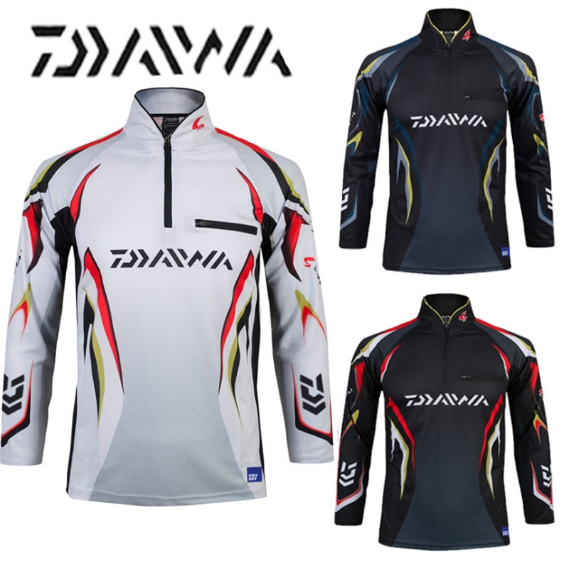 Daiwa brand 2018 autumn new men professional fishing t shirts UPF 50+ sunscreen clothing breathable fishing shirt-in Fishing Clothings from Sports & Entertainment