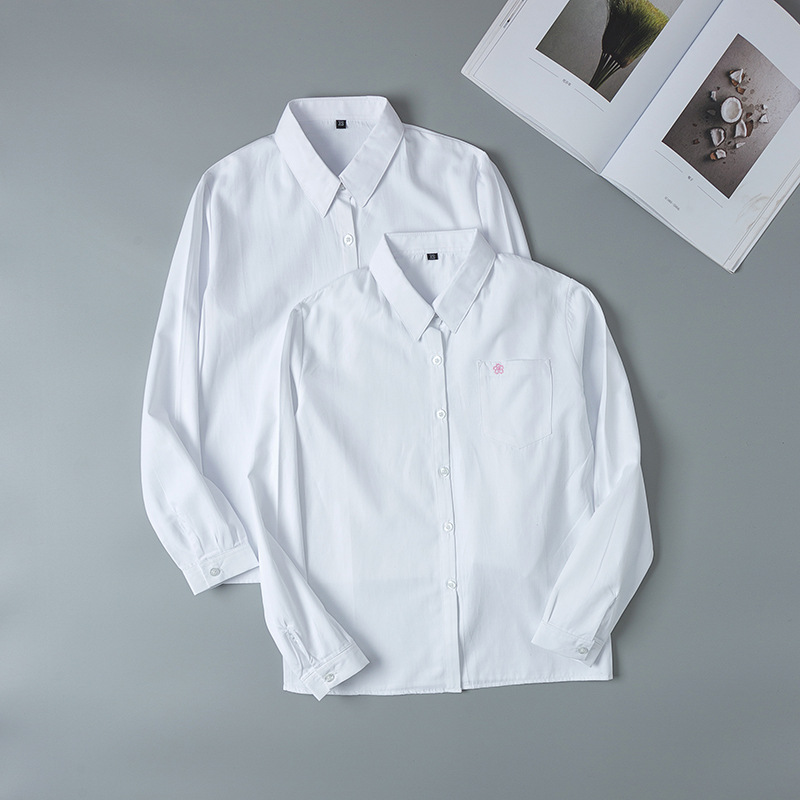 Hot Korean School Uniform Girls Long Sleeve Shirt For Women Japanese School Uniform Cotton White Shirt Cherry Blossom Pattern