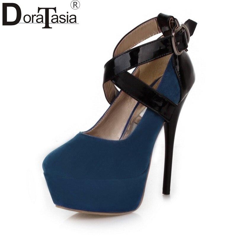 DoraTasia hot sale Big Size 34-43 Sexy platform Women Shoes Woman cross buckles fashion super High Heels Party wedding Pumps