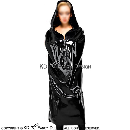 f642543df93 Black Sexy Latex Coats With Hoodies Zipper At Front Rubber Jacket Robe  YF-0065