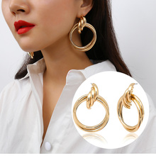 2018 Modern Women OL Big Gold Silver Color Twisted Layered Loop Drop Earrings For Female New Big Punk Statement Earring