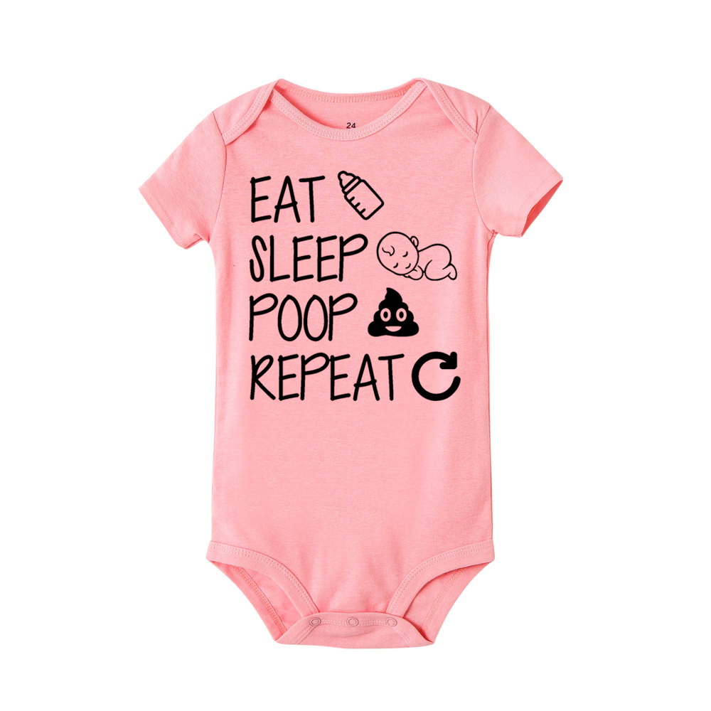 Newborn Summer Romper Eat Sleep Poop Repeat Infant Toddler Baby Boy Girl Cotton Funny Letter Romper Jumpsuit Clothes Outfit