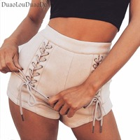 Summer New Explosions Paragraph Popular Women S Shorts Sexy Strap Eyelet Buckle Leisure Loose Middle Waist