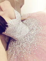 Pink Luxury Quinceanera Dresses 2017 Sweetheart Cryatal Beaded Formal Party Girls Debutante Dress Vestido 15 Anos