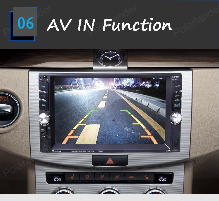 2 din Car Radio Double 6.6 inch Car MP5 MP4 Player Stereo video FM support rear camera/DVR input touch screen bluetooth
