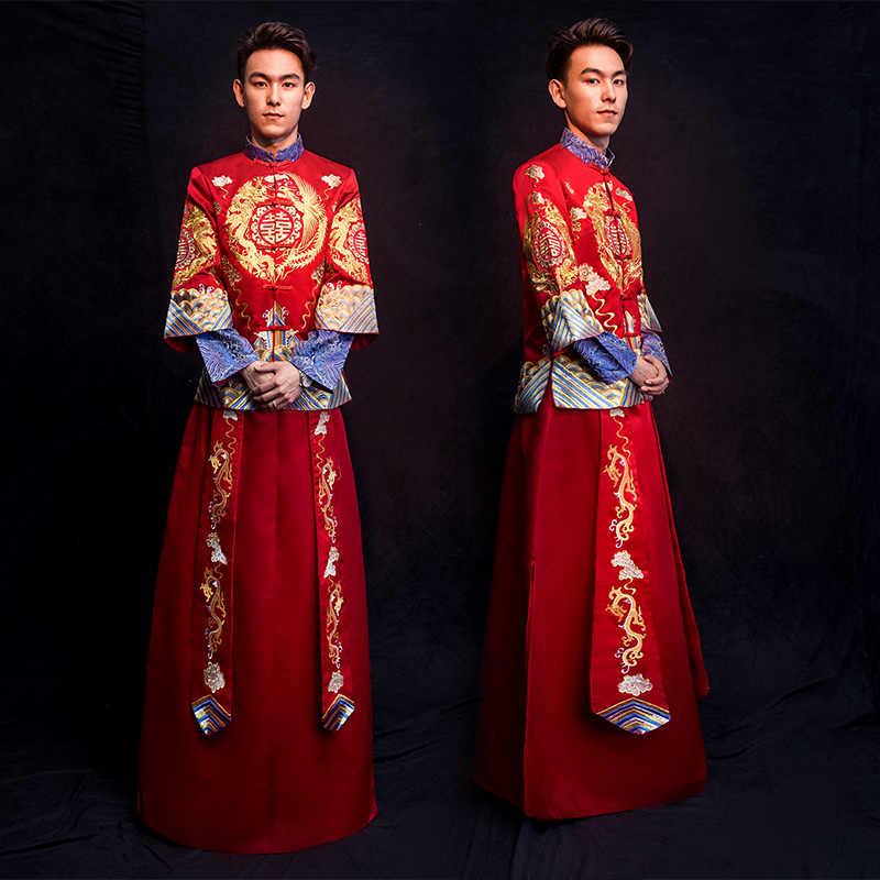 קלאסי מנדרינית צווארון Cheongsam נישואי חליפת רקמת פניקס סיני חתונה שמלת מסורתית Qipao עתיקות Vestidos