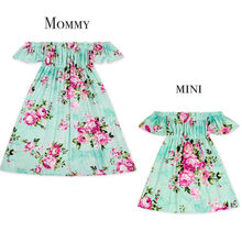Mother Daughter Family Matching Clothes Formal Mom Kids Parent Maxi Long Dress Green Summer Outfits