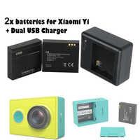 for Xiaomi yi battery, 2Pcs for xiaoyi batteries+Yi dual charger For xiaomi yi action camera xiaomi yi accessory,High quality