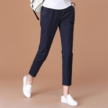 New Spring Summer Cotton Casual Women Pants Capris Female Slim Harem Pants Trousers Womens Pencil Pants Black Blue