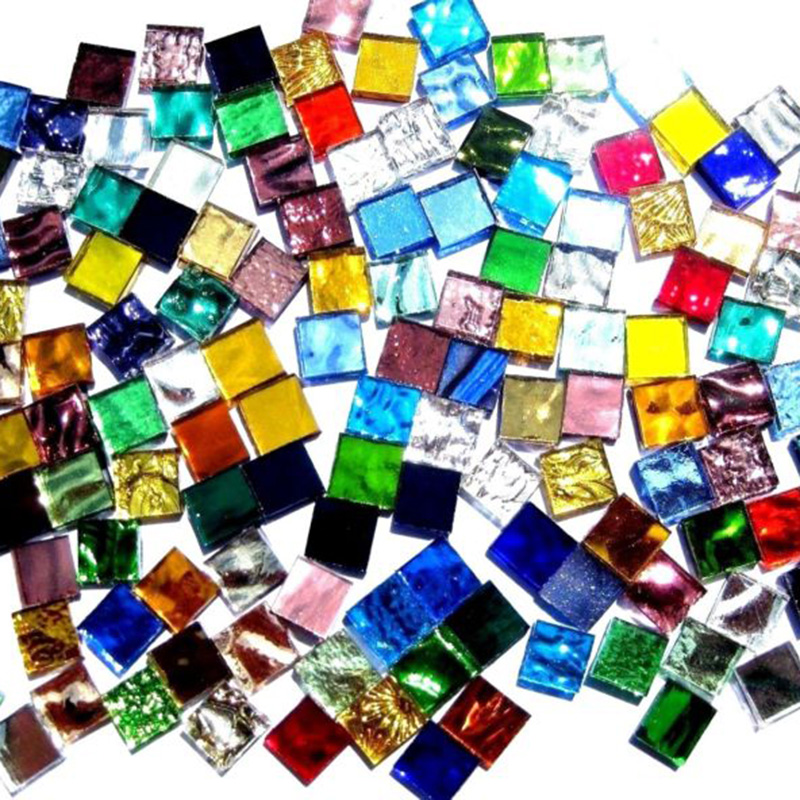 100g Multi Colors Beautiful Colored Square Glass Mosaic Mirror Tiles For DIY Crafts Mosaic Making Supplier Fashion Mixed Color