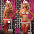 2017 Ladies lace Sexy Lingerie hot Sheer naughty nurse uniform sexy underwear Red Cross bra+t-pants+hat erotic lingerie