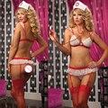 2017 Senhoras de renda Lingerie Sexy hot Sheer impertinente uniforme da enfermeira lingerie sexy sutiã + t-calças Cruz Vermelha + chapéu lingerie erótica