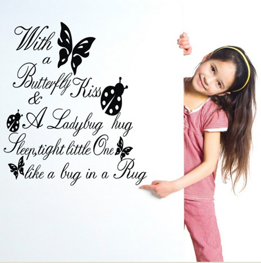compare prices on baby room quotes online shopping buy low price 60 55cm decals butterfly kiss ladybug hug quote wall sticker art vinyl decal baby room