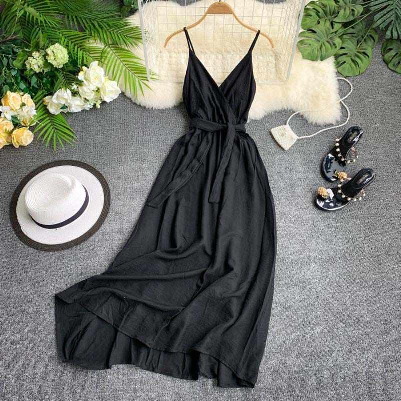 NiceMix vacances robe Sexy dos nu bretelles col en v robe femmes robe plage été Maxi Long grand Swing casual fée robe 2019