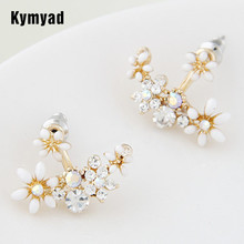 2015 Fashion Korean Gold Crystal Stud Earrings Bijoux Women Flower  boucle doreille Jewelry Accessories