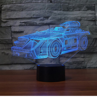 7 Color Change 3D LED NightLight Car Shape Visual Lamp Touch Creative Tanks Desk Table Lamp