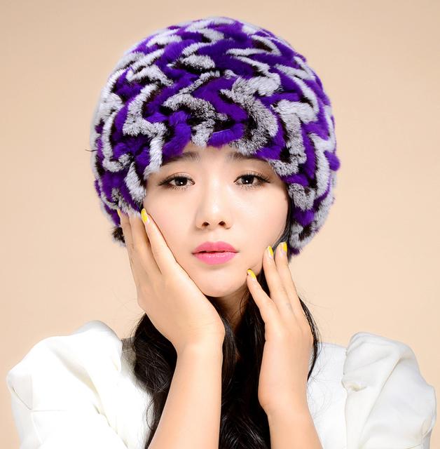 Real 2015 de la señora de piel de conejo Rex gorros de invierno genuino mujer la piel Caps mujer sombreros sombrerería 0702